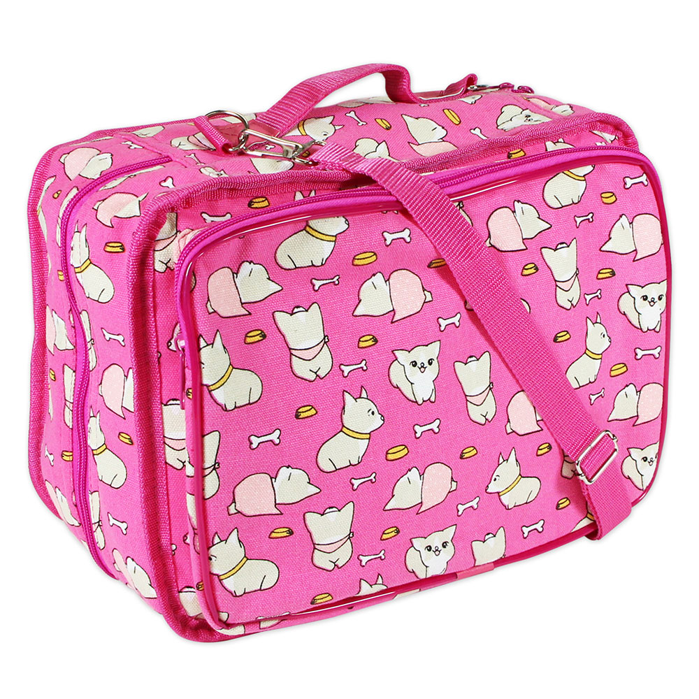 VIVACE Craft/Accessories Tote - Fuchsia Dogs - 33 x 25 x 13cm (13″ x 10″ x 5″) 3028020