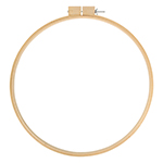This large round wooden hoop is the perfect size for hand quilting. Brass set screw does not corrode and helps keep fingers clean when working with fine fabrics.