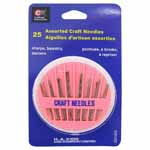 25 assorted craft needles in a plastic compact.  Needles include; sharps, tapestry and darners.