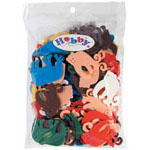 Bag includes monkey and elephant shaped foam pieces in a variety of colours and sizes - 30 g.