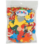 Bag includes heart and star shaped foam pieces in a variety of colours and sizes - 30 g.