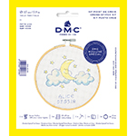 The DMC Stitch Kit Collection provides all you need to make this inspired design your own. This adorable moon, nestled amongst the clouds, is a beautiful visual lullaby.