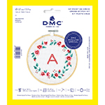 The DMC Stitch Kit Collection provides all you need to make this inspired design your own. A beautiful floral wreath meets your favorite initial.