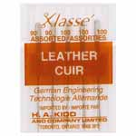 For genuine leather. The leather needle has a cutting point and is used for sewing leather, uedes and non-woven fabrics. It is often referred to as a chisel point needle as the point esembles and acts as a chisel in motion. Do not use with ultra suede, synthetic suede or PU imitation leather.