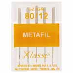 Ideal for sewing and embroidery with rayon and metallic threads on woven or knitted fabrics. The Metalfil Needle is designed with a very large eye, allowing the threads to feed freely as you sew without splitting, burring or shredding. This needle is also suitable for general purpose sewing, giving the added advantage of being easier to thread due to the enlarged eye.