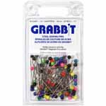 Grabbit® Steel Sewing Pins are superior pins made to quality specifications. They come in an array of colours with ample sized 4mm plastic heads that are easy to grasp and easy to push into fabric. The hardened steel shafts provide a long taper to a good sharp point. They are strong enough to resist bending, but for your protection, they will bend rather than break when put under too much stress.