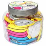 36 needle cases per assortment. Deluxe magnetic needle case with neatly hidden needle threader. Tear drop shape which includes needle slide feature. Convenient magnifier on the lid to assist with needle threading. 3 neon colours: pink, blue and yellow.