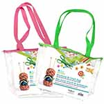 Keep everything for your knitting and craft projects together. Clear plastic bag with flat bottom, zipper closing and hole in side to feed yarn through. Comes with bright green or pink web straps.