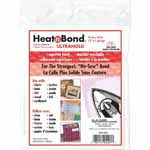 HeatnBond UltraHold is a paper-backed sheet of solid adhesive. Iron it on fabric at a low temperature to make it fusible to other surfaces such as broadcloth, fleece, muslin, paper, cardboard, etc. Its bond is three times stronger than traditional fusible web products. This makes HeatnBond UltraHold truly the superior bond for all no-sew projects using medium to heavy weight materials. Use with: fabric, leather, lame, denim, felt suede, cardboard, wood or foil.