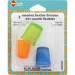 Soft, pliable, lightweight thimbles are comfortable and fit most finger sizes.