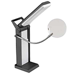 Brighter, whiter light offering true to life colours and clearer, sharper details. 5500K, 4 Watt, surface mounted device LEDs; energy efficient and longer lasting. Automatic shut-off when shade is folded down. Rotating shade - to direct the light for precision work.  Removable magnifier with 2x magnification and 4x insert.  1 year warranty.
