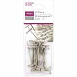 Nickel plated tempered steel in a blister pack. T-pins are for every sewist, knitter and crafter. They can be used to hold heavy and loosely-woven fabric together. They are strong and that makes them perfect for pinning fabric to upholstery and sewing thick fabrics like canvas. They are ideal for blocking knitted materials. The T shape is easy to handle. Rust resistant.