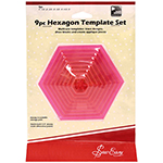 These brightly coloured hexagon shaped templates make alignment and cutting easy on multi-patterned fabrics. Includes sizes 1″, 1<sup>1</sup>⁄<sub>2</sub>″, 2″, 2<sup>1</sup>⁄<sub>2</sub>″, 3″, 3<sup>1</sup>⁄<sub>2</sub>″, 4″, 4<sup>1</sup>⁄<sub>2</sub>″ and 5″.