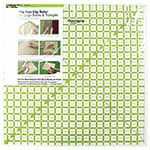 Non-slip ruler for cutting, squaring & setting large blocks & triangles. Set the most popular size quilt blocks on point. Measurements are printed on the ruler for squares needed to cut side and corner triangles - no more math! Cut half-square, corner setting triangles and quarter-square, side setting triangles with ease. Transparent, neon green double-sight lines that seem to glow on both light and dark fabrics.. Non-slip backing.