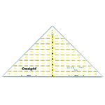 Quarter square triangle for <sup>1</sup>&frasl;<sub>4</sub>&Prime; square up to 8&Prime; finished blocks with <sup>1</sup>&frasl;<sub>4</sub>&Prime; seam allowance built in! Made of strong and durable premium quality acrylic plastic. Unique black and yellow double sight lines for easy viewing when working with light and dark fabrics. Laser cut to within 0.002&Prime; accuracy with a smooth finish. Specially designed for right and left handed use.