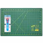 This is ideal for sewers, quilters and crafters alike. Cuts multiple layers easily. Includes 1 self healing 12″ x 18″ cutting mat and a durable 28mm rotary cutter.