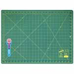 This kit is ideal for sewers, quilters and crafters alike. Cuts multiple layers easily. Includes 1 self healing 18″ x 24″ cutting mat and a durable 45mm rotary cutter.