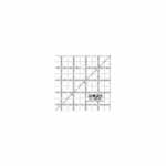 Whether you're into paper crafting or quilting, you'll find this square ruler to be indispensable. Paper crafters can use it for half-square triangles and small paper piercing. Quilters can use it as a template for 4″ squares, baby quilts and more. Good For: precise measurements and cutting angles for sewing and quilting. Frosted acrylic surface allows black imprinted numbers to be read effortlessly. Frosted surface is non-slip for extra stability and safety when cutting. Designed for accuracy and precision with grid lines marked in a <sup>1</sup>⁄<sub>8</sub>″, <sup>1</sup>⁄<sub>4</sub>″, <sup>1</sup>⁄<sub>2</sub>″ and 1″ increments.