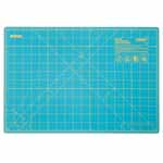 Whether you're new to crafting or a pro, you'll appreciate this OLFA® rotary mat. It not only protects your cutting surfaces, it protects the edges of rotary blades. The mat's grid lines are designed for easy measuring and accurate cutting of straight lines and precise angles. Good For: protecting cutting surfaces and extending the life of your rotary blades. 1.5mm thick. Double-sided mat is solid on one side for general crafting and has grid lines on other side for detailed cutting. Self-healing finish reseals surface cuts, providing a continually smooth surface for all cutting projects. Store flat and out of direct sunlight. For use only with rotary blades and blades; fixed-blade knives blade may damage mat. Mat: 12 1/2″ x 19″ (31.5 x 48.7 cm). Grid: 12″ x 18″ (30.5 x 45.7 cm)