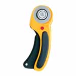 This OLFA® rotary cutter is a combination of comfort, convenience, strength and safety. Its ergonomic handle with anti-slip rubber grip eliminates hand fatigue and stress, while the squeeze trigger allows the blade to self-retract for safety. The cutter can handle up to six layers of thin materials. And the quick blade change feature won't slow down your project. Good For: cutting strips and multiple layers at once. Cuts fabric, paper, tarp, vinyl, upholstery and more. Quick blade change feature. Contoured handle for comfortable cutting. Features a tungsten steel 45mm rotary blade (3902545). Split blade cover for additional safety.