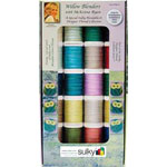 Twenty spool Sulky 30wt. blendables Collection These threads go well with McKenna's Hoffman Batiks and Willow fabric lines. Includes a FREE Embroidery Design..
