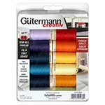 12 spools of Gutermann's most popular primary colours of 100m Sew-All thread.
