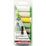 This thread set includes 7 spools of 100m recycled Sew-All thread in light colours. Be responsible for the environment - conserve natural resources! This 100% recycled polyester thread is flexible, soft, supple, non-fading and colourfast. It will not twist or throw fibres while sewing, is tear and abrasion resistant and is consistent with no thin and thick areas.