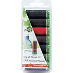 This thread set includes 7 spools of 100m recycled Sew-All thread in dark colours. Be responsible for the environment - conserve natural resources! This 100% recycled polyester thread is flexible, soft, supple, non-fading and colourfast. It will not twist or throw fibres while sewing, is tear and abrasion resistant and is consistent with no thin and thick areas.