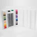 27 of the most used 40 wt. Rayon colours and Sulky Black & White Bobbin Thread within the clear Slimline storage box that can conveniently hold up to 104 spools and weighs only 4 lbs when full..