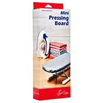 The Mini Pressing Board is foldable for easy storage and features anti-skid feet for maximum stability and a pressing surface surface size of 23 x 10cm (9″ x 4″). Perfect for quilting and a great alternative to bulky conventional boards. Height (when on legs): 9.5cm (3.75″). Materials: wooden board with foam pad and cotton cover.