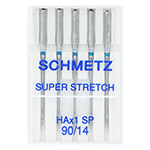 The Schmetz Super Stretch medium ball point needle is a great alternative to the Stretch needle. It has a special flat shank which allows the needle to be closer to the hook and the special design of the scarf area produces a larger needle thread loop which can easily be picked up by the hook. These features prevent skip stitches even on highly elastic fabrics. The reinforced blade and chrome coating causes less needle breakage, creates straighter stitches and is more resistant to wear. As well, it has a wider and shorter eye and a widened groove, allowing it to sew with thicker swewing threads than the Universal or Stretch needle as threads are less stressed and therefore do not break. Can be used in standard home sewing machines using system 130/705 H, as well as some overlock machines (see machine manual).