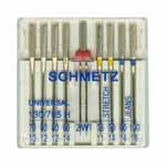 Designed to allow the user the opportunity to try a variety of popular SCHMETZ needles. Includes one each: Universal 75/11 & 90/14; Stretch 75/11 & 90/14; Denim 90/14 & 100/16; Double 2mm; and two Universal 80/12.