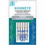 SCHMETZ Chrome Professional Grade is the perfect sewing partner. Chrome resists heat and wear. Chrome will stay cool longer with less stitch distortion and aids the thread to pass through the needle eye with less friction and less heat build-up. Chrome also allows the needle to pass through the fabric with less resistance. Made especially for piecing and machine quilting. The special tapered design allows easier fabric penetration and helps eliminate skipped stiches.