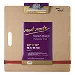 The Mont Marte Sketch Board is ideal for outdoor sketching, but may also be used in the studio or classroom. The large rubber band and clip holds your sketch pad securely in place. Constructed from 3mm masonite that provides a smooth durable drawing surface.  Llightweight sketchboard with easy-carry handle.