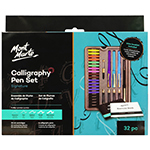 This 33 piece calligraphy set features 4 classic style pens and 5 nib grades. The instruction and exercise booklets included give you a letter-by-letter introduction to the art of calligraphic writing as well as plenty of handy tips. Features: 4 x classic style calligraphy pens 5 x nib grades: extra fine, fine, medium, broad and extra broad; 20 x ink cartridges: 2 x brown, green, pink, orange and yellow, 5 x black and blue, and pump for bottled ink.
