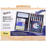 This set includes: 12 watercolour pencils; 6 watercolour tubes (12ml); 6 watercolour pans; 3 water soluble graphite pencils (light, medium dark); 2 paint brushes; water brush; A5 paper pad, palette; colour dial and wooden gift box with latch closure.