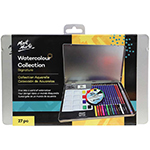 Signature Watercolour Collection. The set includes 12 watercolour pencils, 8 watercolour blocks, palette with 8 wells, HB pencil, 2B pencil, water brush (fine), sharpener, eraser and mini colour wheel.