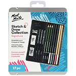 Signature Sketch and Draw Collection. Features 3 graphite sticks (2B, 6B, 12B), 3 charcoal pencils (soft, medium, hard), 3 charcoal blocks (soft, medium, hard), 3 water soluble pencils (light, medium, dark), white charcoal pencil, brown charcoal pencil, sharpener, eraser and kneadable eraser.