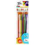 7 assorted sizes of these paint brushes offers a variety of options for young painters. The brushes feature birch wood handles, Taklon bristles and a metallic finish.  Each brush size is a different colour and the round brushes include a plastic protector for when not in use.  Ages 3+