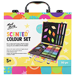 Kids' colouring set includes: 12 scented leaf crayons, 6 glitter paint pens, 12 scented markers and 20 colouring sheets with fun designs. Recommended for ages 5 and up.