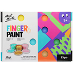 This 23 pc finger paint set offers a vibrant selection of colours that will bring huge smiles and hours of fun creativity. Includes 20 colours x 35ml (1.18oz) finger paints, 1 stencil and 2 foam brushes. Paints are non-toxic and washable - just clean skin with soap and water and throw any clothes or fabrics in the wash with normal detergent.