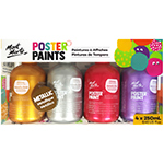 Mont Marte's Poster Paint is a tempera styled paint and is ideal for school students and art groups. With vibrant colour and a matte finish, this fabulous paint is quick to dry. Poster paint is easy to blend and offers great opacity. Non-toxic and washable. Easy to use with a clever flip top lid. Set includes 4 x Metallic 250ml Paints - Red, Blue, Yellow and Purple.