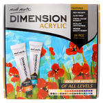 Mont Marte Dimension Acrylic is a high viscosity, fine art paint that offers artists a new dimension in painting. This acrylic's ultra thick consistency can be applied with brush, palette knife or shaper to create especially exaggerated texture effects. Dries hard and holds shape while still maintaining flexibility and smooth flow-ability. It can be diluted with water or acrylic mediums for glazing or watercolour techniques. With dilution, the pigment still holds strong colour intensity. 36 High viscosity paints included. Features gloss finish and strong colour intensity as well as excellent lightfastness.