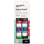 Mont Marte Fabric Paints are perfect for all your DIY fashions and homeware projects. The eight bright, permanent colours can be mixed together for an endless palette and can be applied by hand, with a brush or with screen printing techniques. 8 x 20ml pots of various colours - White, Black, Yellow, Green, Pink, Blue, Red and Purple.