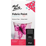 Get creative with clothing, fabric shoes, tote bags, cushions and other DIY fashion and homewares with the Signature Fabric Paint Set. Includes 12 bright and beautiful colours that are mixable for endless colour options! Includes a 20 ml (0.7oz) tub of each of: Titanium White, Lemon Yellow, Cadmium Yellow, Brilliant Red, Pink, Light Purple, Cerulean Blue, Light Green, Sap Green, Burnt Sienna, Lamp Black and Gold. Permanent once dry and machine washable once set.