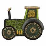 Green tractor motif. Elan iron-on motifs are an easy creative way to add pizzazz to your garments, breathe new life into old garments or a fun repair solution to patch up rips and tears on children's clothes.