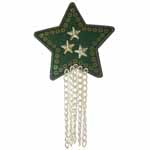 Green star and chain motif. Elan iron-on motifs are an easy creative way to add pizzazz to your garments, breathe new life into old garments or a fun repair solution to patch up rips and tears on children's clothes.
